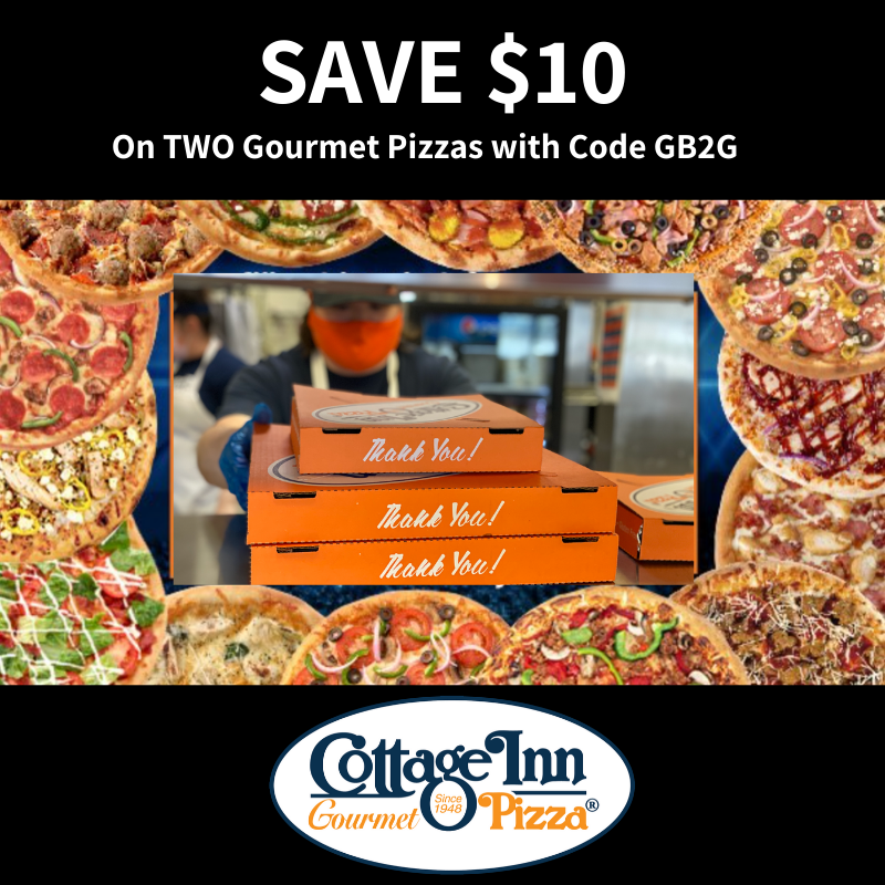 SAVE $10 when you buy TWO Gourmet Pizzas!
